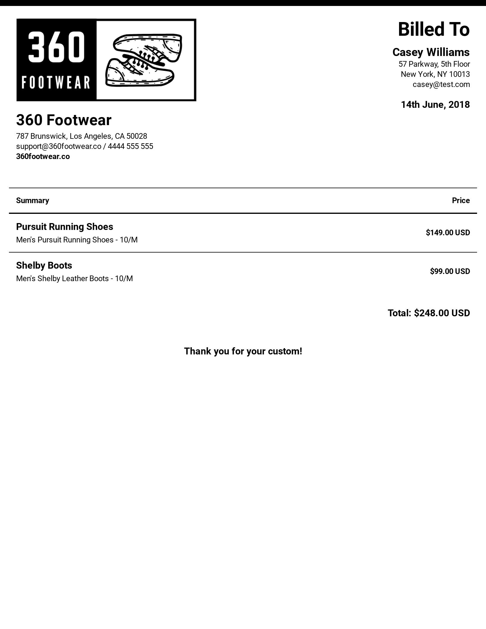 Responsive invoice
